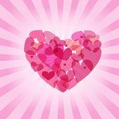 Tarjeta de san valentín vintage con corazones lindos — Vector de stock