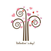Hearts tree. Valentines card — Stock Vector
