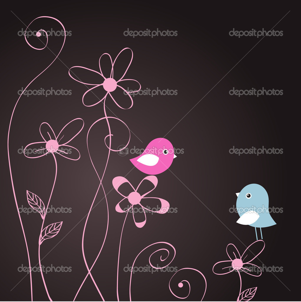 Two cute birds on the tree branches  — Stock Vector #4756073