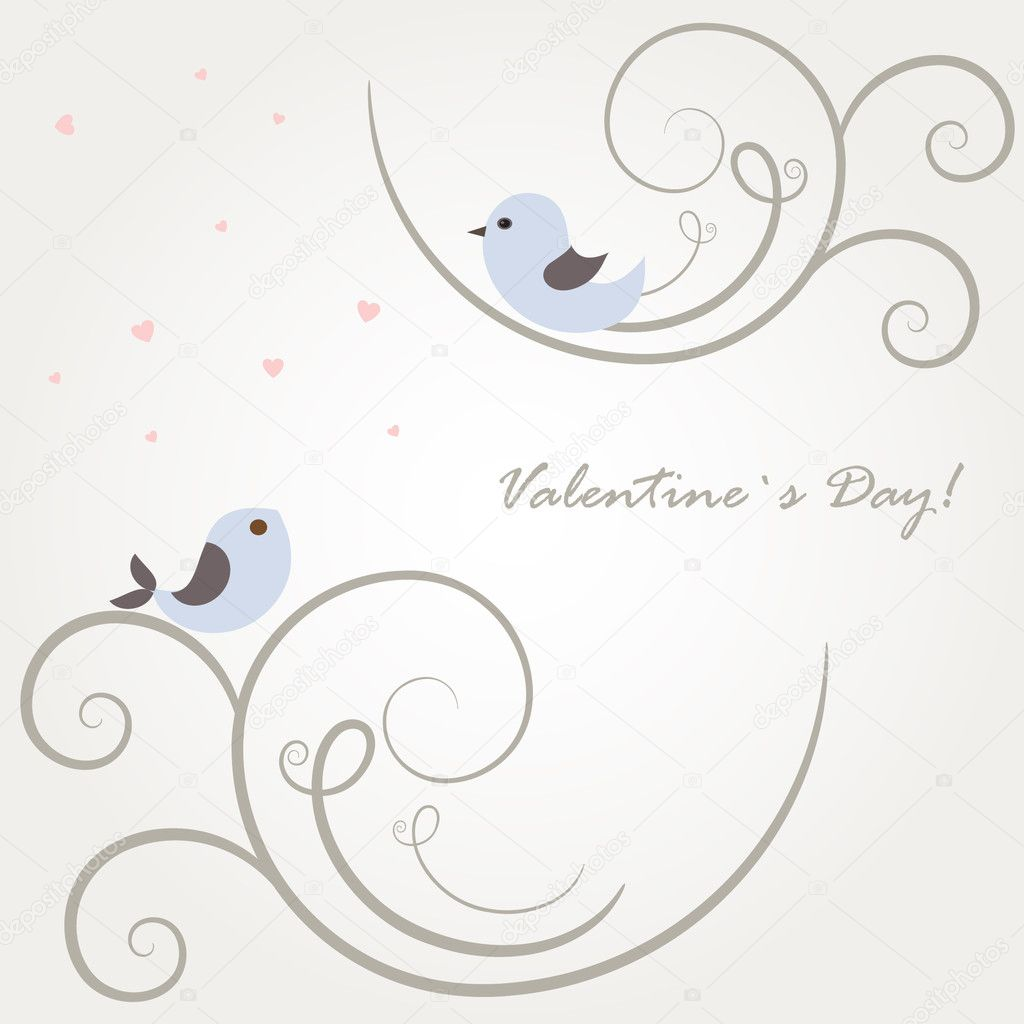 Two cute birds on the tree branches  — Vettoriali Stock  #4756097