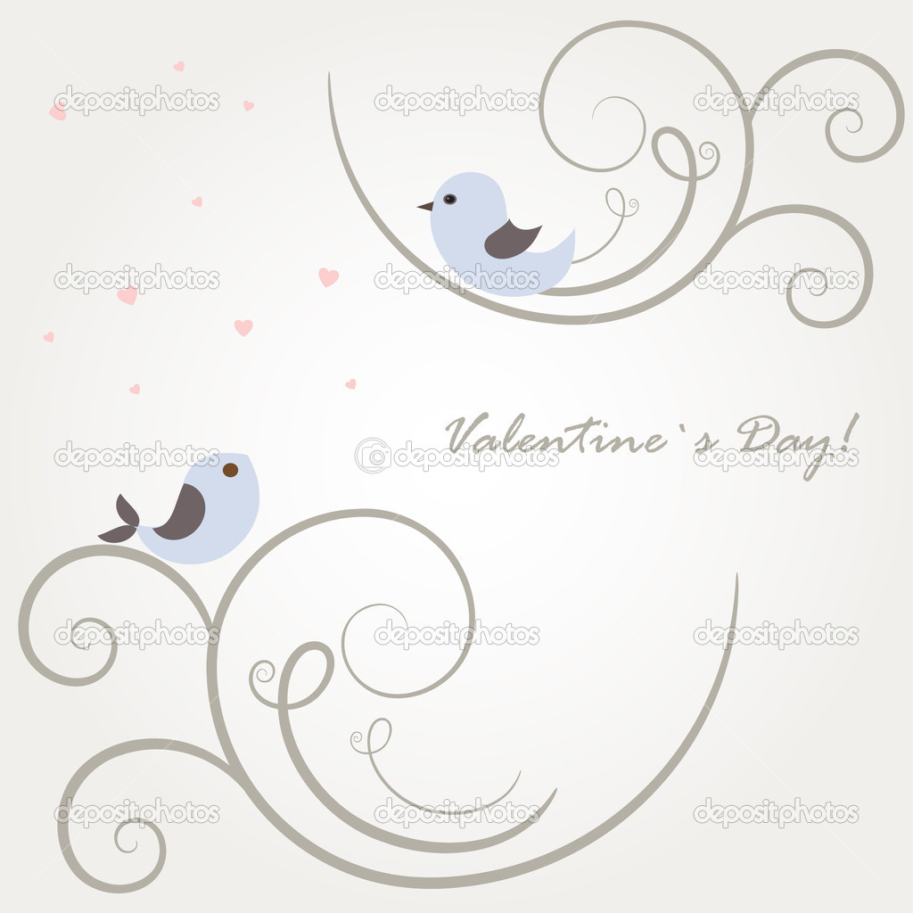 Two cute birds on the tree branches  — Vektorgrafik #4756097