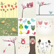 Cute valentine`s card with birds couple — 图库照片 #4921116