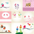 Stock Photo: Cute valentine`s card with birds couple