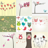 Cute valentine`s card with birds couple — Fotografia Stock