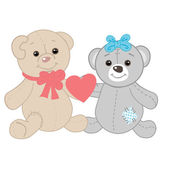 Cute bears couple. Valentines card — Stock Photo