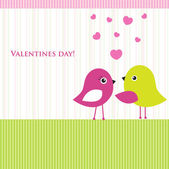 Cute valentine`s card with birds couple — Stock Photo