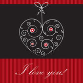 Vintage valentine`s card with heart and bow — Stock Photo