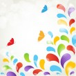 Stock Photo: Background with flowers and butterflies