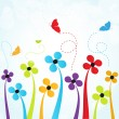 Background with flowers and butterflies — Stock Photo #5153638