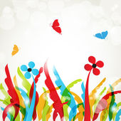 Background with flowers and butterflies — Stock Photo