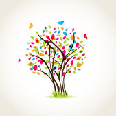 Colorful spring tree with butterflies — Stock Photo