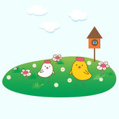 Easter card with two chickens in green grass. — Stock Photo