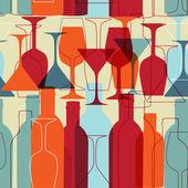 Sfondo senza giunte d'epoca con bottiglie di vino e bicchieri — Foto Stock