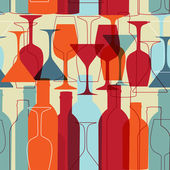 Vintage seamless background with wine bottles and glasses — ストック写真