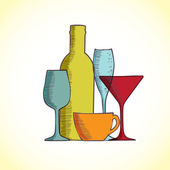 Hand-drawn illustration of wine bottles and glasses — Stock Photo