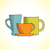 Hand-drawn illustration of coffee and tea mugs — Stock Photo