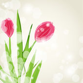 Spring postcard with flowers — Stock Photo