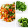 Salad of fresh vegetables, broccoli and green beans. — Stock Photo