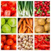 Collage of nine fresh vegetables lying on the window — Stock Photo