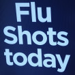Flu shots sign. - Zdjcie stockowe