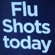 Stock Photo: Flu shots sign.