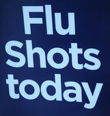 Flu shots sign. — Stock Photo
