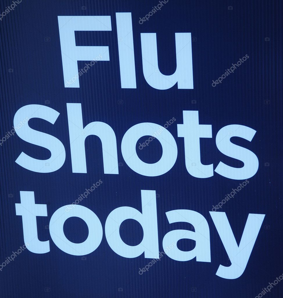Flu shots sign on display. — Stock Photo #4677541