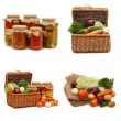 Fresh and tinned vegetables isolated on white - Stock Photo