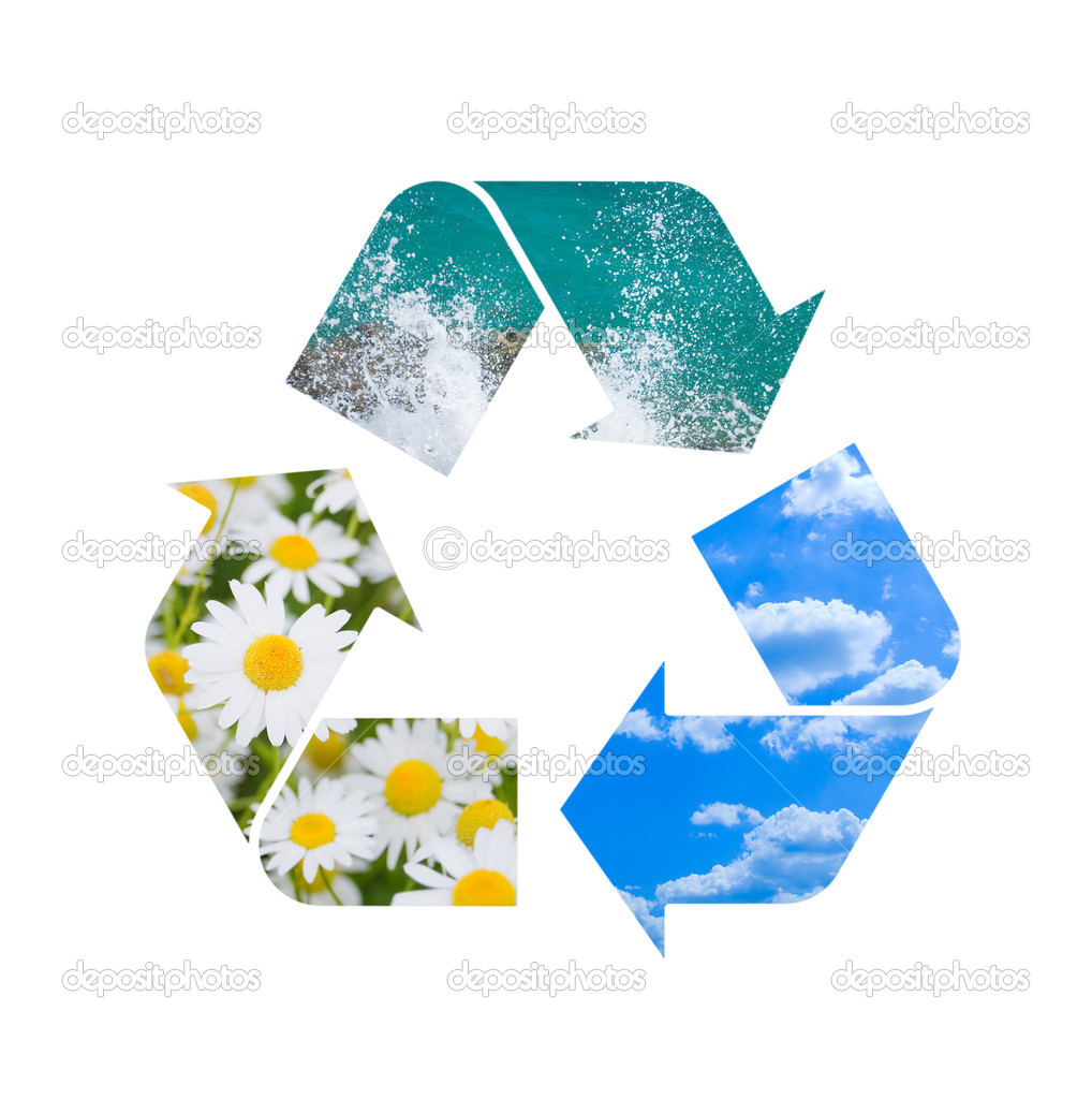 Conceptual recycling sign with images of nature                Stock Photo #4120519