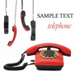 Red old telephone. Composite — Stock Photo