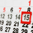 Page of calendar showing date of today — Stock Photo