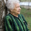Beautiful portrait of an elder woman outdoors — Stock Photo
