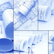 Blueprints, construction - a collage as the concept of construction — Foto Stock