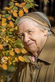 Hermoso retrato de una mujer mayor al aire libre — Foto de Stock
