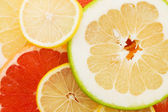 Fresh grapefruit and slices background — Stockfoto