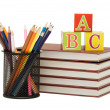Stock Photo: Back to school concept with books and pencils