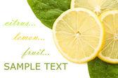 Fresh juicy Lemon with green leafs — Stock Photo