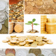 Royalty-Free Stock Photo: Gold and old coins. A collage