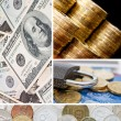 Stock Photo: Gold and old coins. collage