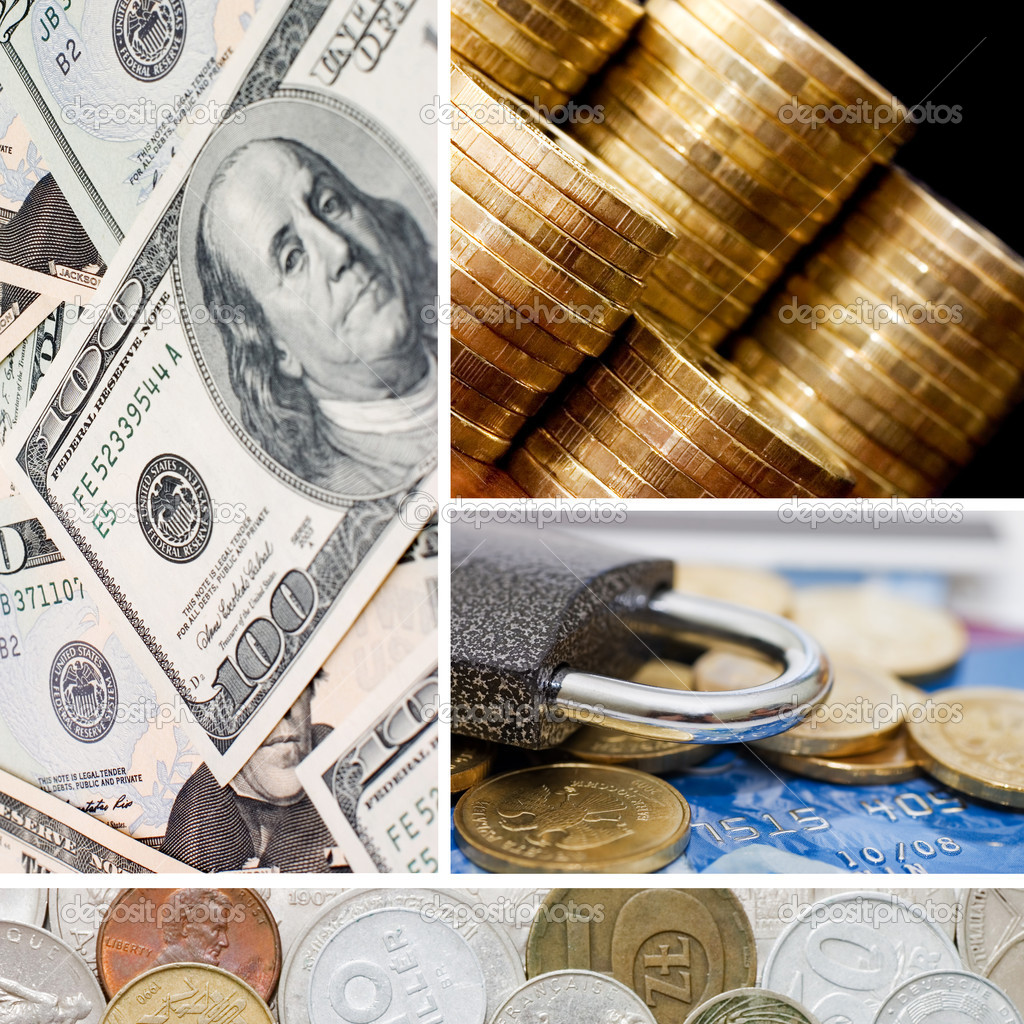 Gold and old coins. A collage — Stock Photo #4650236