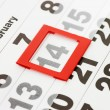 Sheet of wall calendar with red mark on 14 February - Valentines — Stockfoto