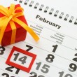 Sheet of wall calendar with red mark on 14 February - Valentines — Stock Photo #4660875