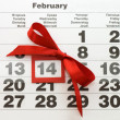 Sheet of wall calendar with red mark on 14 February - Valentines — Stock Photo #4660886