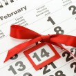 Sheet of wall calendar with red mark on 14 February - Valentines — Stock Photo