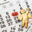 Sheet of wall calendar with red mark on 14 February - Valentines day — Foto de Stock   #4660909