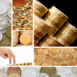 Gold and old coins. A collage - Stock Photo