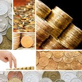 золото и старых монет. коллаж — Стоковое фото
