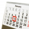 Sheet of wall calendar with red mark on 14 February - Valentines day — Stock Photo #4678918