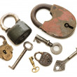 Set of old locks isolated on white background - Stock Photo