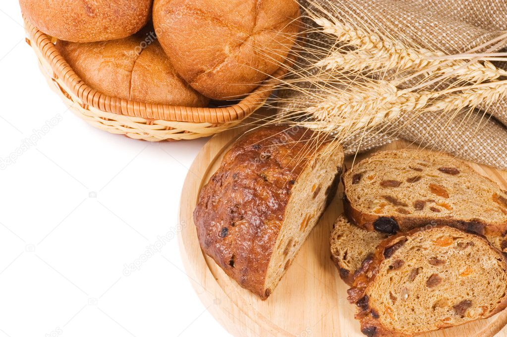 Fresh bread with ear of wheat  Stock Photo #4808580